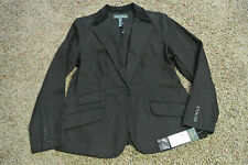 RALPH LAUREN Sexy MANHATTAN Black Denim Jacket Blazer L  NWT$159 Velvet Collar!