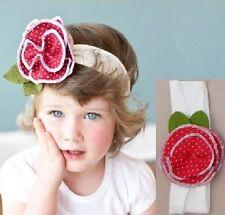 Niños Del Bebé Cinta Flores Pétalos Rojo PUNTITOS Pelo Niñas Joyas para el