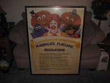 Vintage McDonald's Playland Regulations - Framed Rare Piece