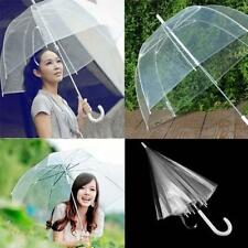 Large Clear Dome See Through Umbrella Handle Transparent Walking Brolly Ladiy I9