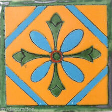 C#012) MEXICAN TILES CERAMIC HAND MADE SPANISH INFLUENCE TALAVERA MOSAIC ART
