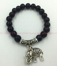 Fashion manually create black agate 10 mm Tibetan silver elephant lucky bracelet
