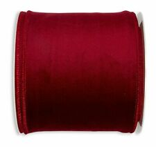 50mm/100mm wide WIRED EDGE VELVET RIBBON BURGUNDY, GREY, OCHRE, PURPLE, PINK