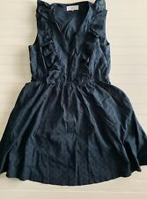 Textile Elizabeth & James Navy Blue Floral Eyelet Apron Dress Size Large