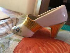 Vintage Porcelain Floral High Heel Shoe Figurine with Gold Trim And Heel Japan