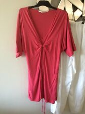 VIRTU TS TAKING SHAPE Pink Short Knot Front Sleeve Stretch Tie Back Tunic top M