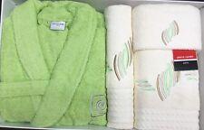 PIERRE CARDIN L / XL 4 PIECE BATHROBE TOWEL SET LIME GREEN CREAM 100% COTTON