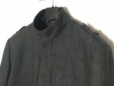 Smart TU Grey Herringbone Wool Jacket, Funnel Neck, Military Style, Size XL VGC