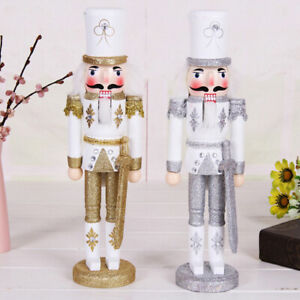 Gold Wooden Nutcracker Walnut Sword Soldier Christmas Gift Decor Ornament 30cm