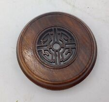 "3.25"" Dark Brown Carved Rosewood Lid for Antique Chinese Porcelain Ginger Jar"