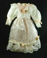 """Fancy Pink and White Sateen Dress with Lace Overdress for 16"""" Doll"""