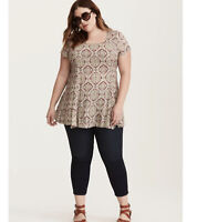 Torrid Top Medallion Print Challis Tunic Shirt Sleeve Women's Plus Size 3x