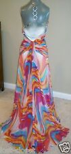 Night Moves Formal Colorful Halter Backless Gown Prom Dress Train size 4 @cLOSeT