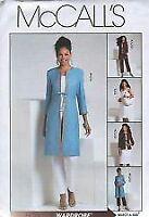 McCalls Sewing Pattern 5115 Misses jacket Pants Skirt Coat Top Size 6-12