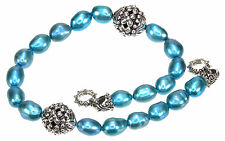 """Barbara Bixby Cultured Teal Pearl Sterling Silver 9"""" Long Add On Necklace"""