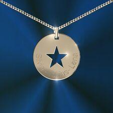 Anhänger rund mit Stern, Inkl. Gravur, Silber 925, , Namenskette, Initiale