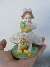 ANTIQUE Sitzendorf Dresden Porcelain Figurine Girl Germany