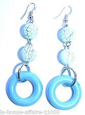 BOUCLES D'OREILLES FANTAISIE PENDANTE boule et anneau bleu tendance soirée