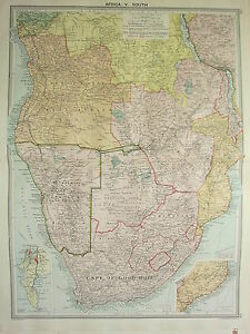 1920 LARGE MAP ~ AFRICA SOUTH ~ CAPE OF GOOD HOPE TRANSVAAL CAPE PENINSULA