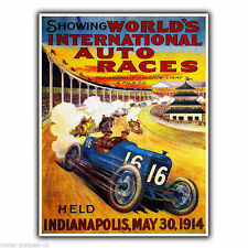 World's Auto Races 1914 motor racing vintage pub Métal Mural Signe Plaque