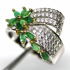 NATURAL GREEN EMERALD & WHITE CZ RING 925 STERLING SILVER SIZE 7