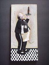 Vintage Chalkware Plaster Waiter Wine Relief Wall Plaque Kitchen Bar Decor