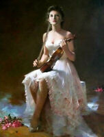 ZWPT855 100% painted hand hold violin girl portrait oil painting art on Canvas