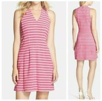 LILLY PULITZER STRIPED FIT FLARE SLEEVELESS PINK WHITE DRESS WOMEN'S SIZE MEDIUM