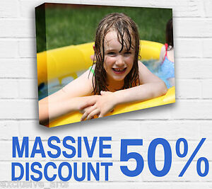 CANVAS PRINT YOUR PHOTO ON LARGE PERSONALISED 40MM DEEP BOX FRAMED 24X16IN 20X20