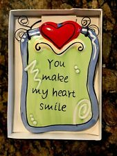 "Tumbleweed Pottery Wall Hanging ""You Make My Heart Smile"" NEW"