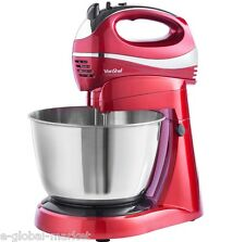 Stand Mixer & Hand Electric Blender Grinder Dough 6 Speeds Cakes Bread Egg RED