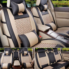 AU PU Leather Comfort Mesh Seat Covers L Size 5-Seats Car Front+Rear Set BLK/BGE