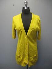 TABITHA Mustard Short Sleeves Button Front V Neck Cardigan Sweater Sz M DD8107