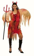 Womens Devil Fairy Halloween fancy dress costume Ladies Red Dress Wings Horns