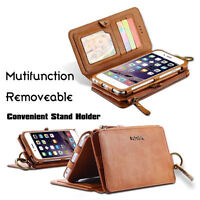 FLOVEME Luxury Leather Flip Wallet Phone Case Cover for iPhone 6s 7 Plus Samsung