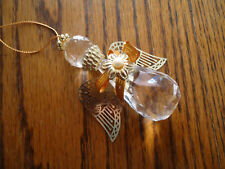 "Vintage Clear Crystal Faceted Teardrop Gold Angel Ornament Plastic 3"" High"