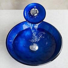 Blue Round Glass Sink Bathroom Basin Bowl Vanity Chrome Mixer Faucet Drain