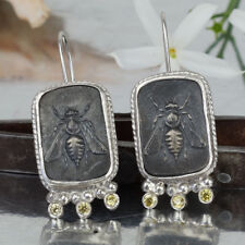 Bee Coin earrings W/ Canary Topaz Handmade Sterling Silver Ancient Style Jewelry