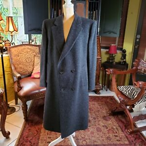 Pierre Cardin Vintage Gray Wool Mens overcoat Double Breasted  -Large