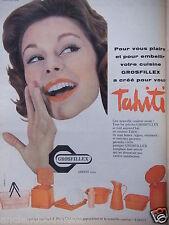 PUBLICITÉ 1958 GROSFILLEX COULEUR A LA MODE TAHITI - ARBENT - ADVERTISING