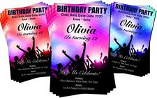 BIRTHDAY PARTY INVITATIONS Personalised Disco Dance Rave Red, Pink or Blue
