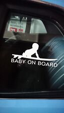 """BABY ON BOARD"" FUNNY STICKER SURFER CAMPER SURF BEACH CHILD"