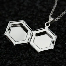 Vintage 925 Silver Filled Hexagon Photo Picture Locket Pendant Necklace Jewelry