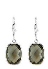 14K White Gold Dangle Earrings with Cushion Cut Smoky Topaz Gemstones