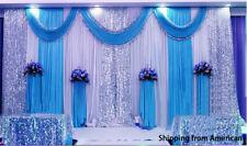 Blue Three Fold Wedding Stage Backdrop Hot Drapes Swag Silk Fabric Quality USA