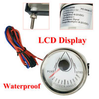 "52mm 2""LCD 0-190ohm Rudder Angle Indicator Gauge Meter Marine 9-32V Anti-fogging"