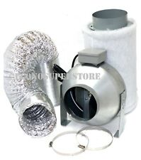 """Combo 6"""" Carbon Filter Hydro Inline Fan Air Blower Aluminum Ducting Odor Control"""