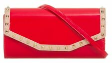 Glossy Trim Studs Patent Faux Leather Clutch Bag Punk Glam Evening Casual Party
