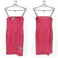Womens Karen Millen Silk Bodycon Vintage Dress Pink Floral Strappy Size 12UK