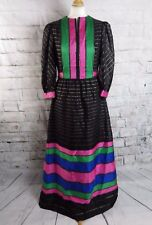"Vintage 60s maxi dress 10 12 bust 38"" ball gown black gold pink elegant sparkly"